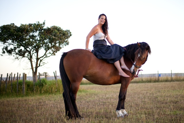 Horse and girl in ballgown