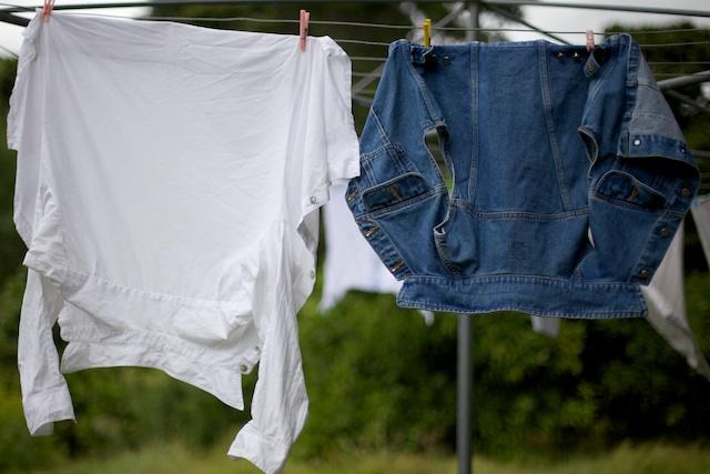 Linen shirt and denim waistcoat