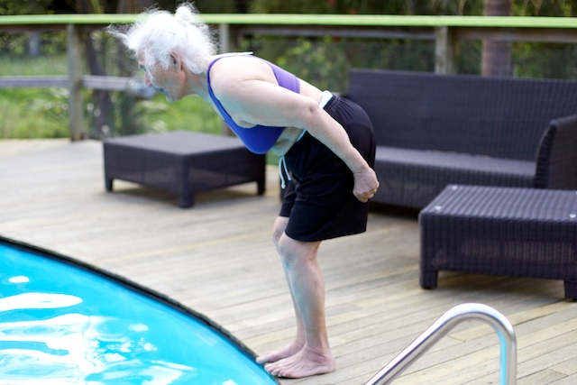 Grandmother about to dive