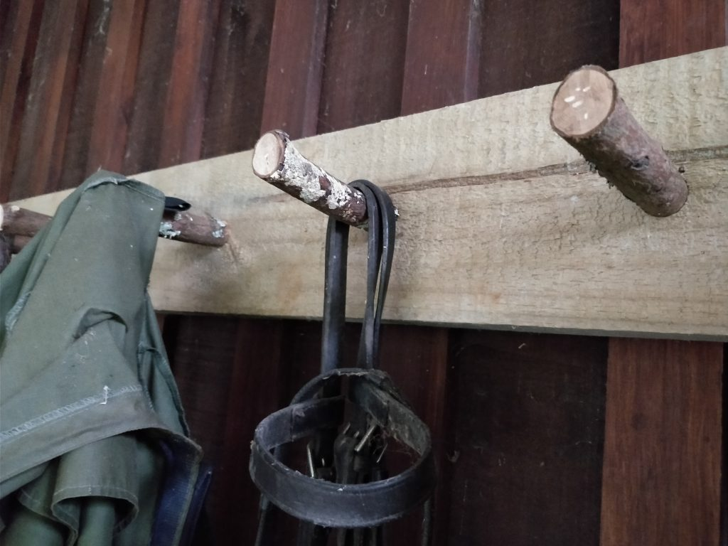 Coat rack with natural timber hooks