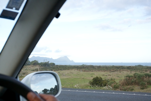 View of Whangarei Heads from a car